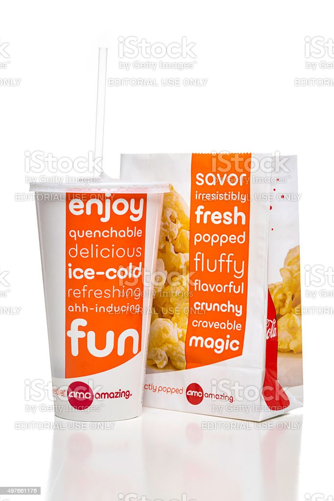 Amc theatres soda paper cup and popcorn bag stock photo
