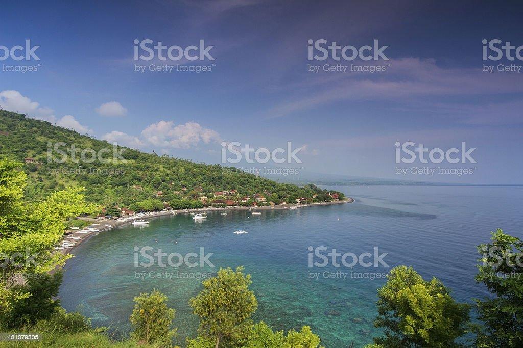Amed coastline in Bali stock photo