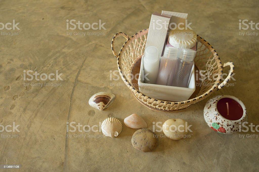 Amenity in basket in hotel room stock photo
