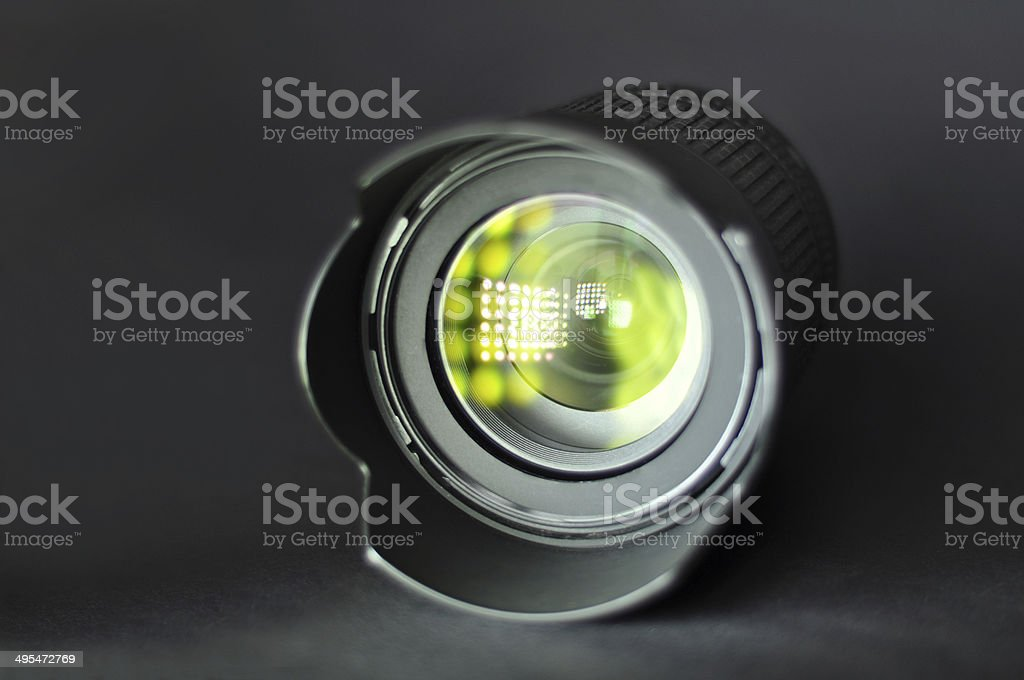 ?amera lens with beautiful patches of light stock photo