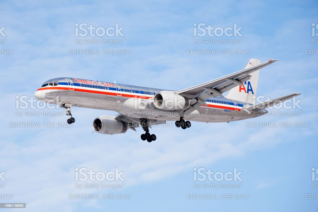 Amercian Airlines Boeing 757 Airplane Landing stock photo