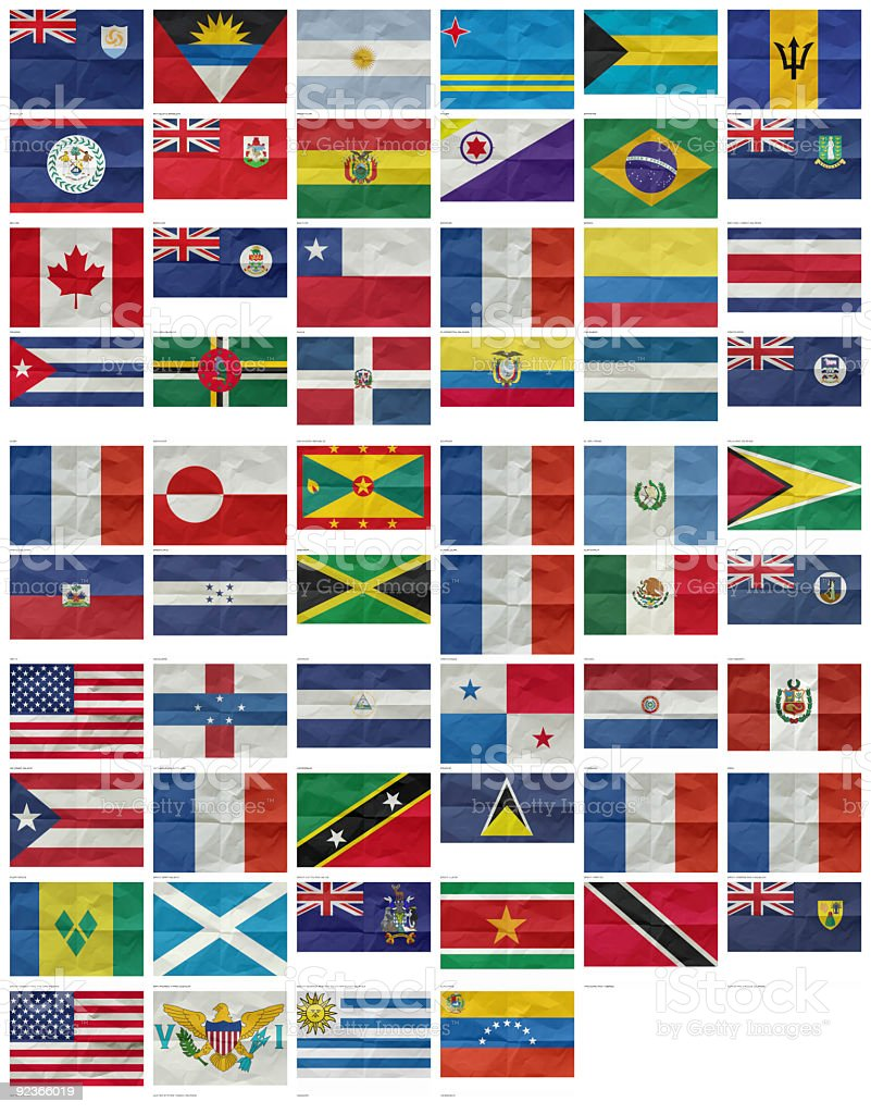 America, All Flags stock photo