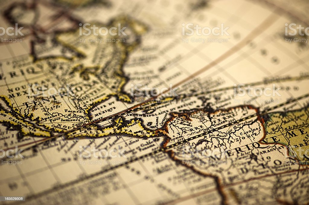 America Ancient World Map royalty-free stock photo