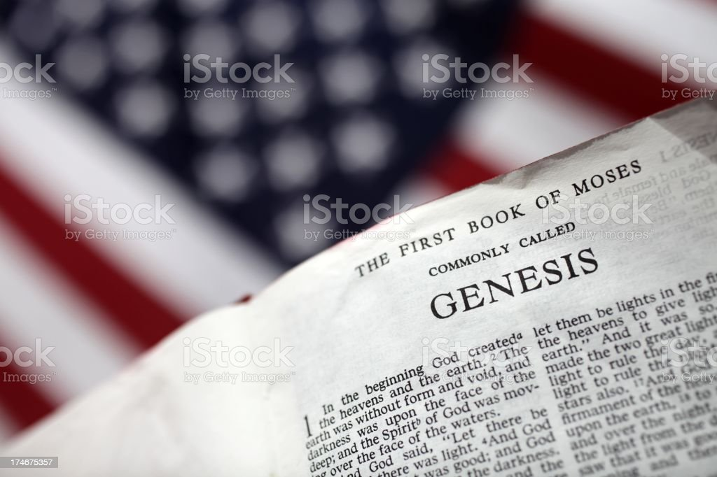 America and the book of Genesis stock photo