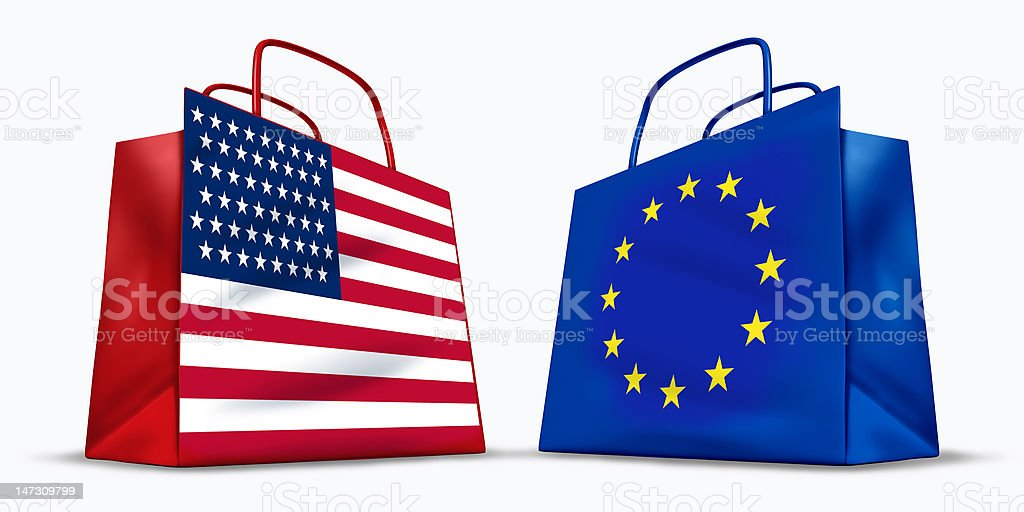 America and the European Union trade royalty-free stock photo
