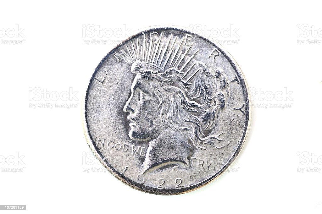 america antique silver coin stock photo