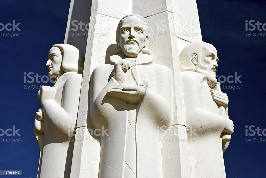 America / Astronomers Monument Griffith Park Observatory Los Angeles California USA stock photo