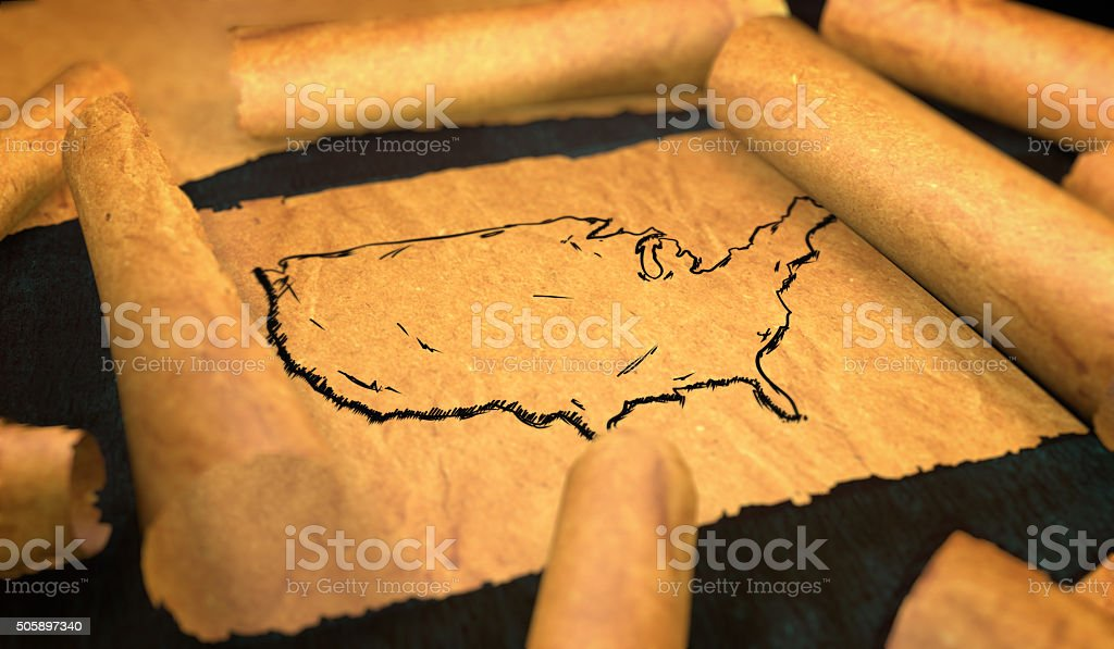 America Map Drawing Unfolding Old Paper Scroll 3D stock photo