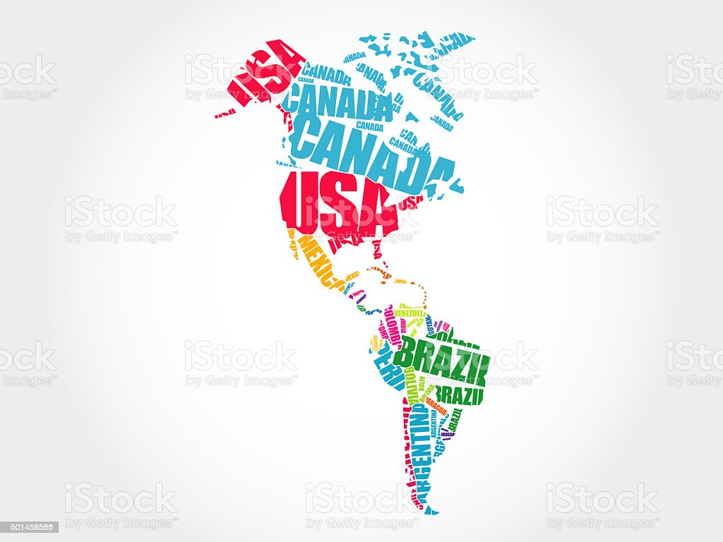 America Map in Typography word cloud stock photo