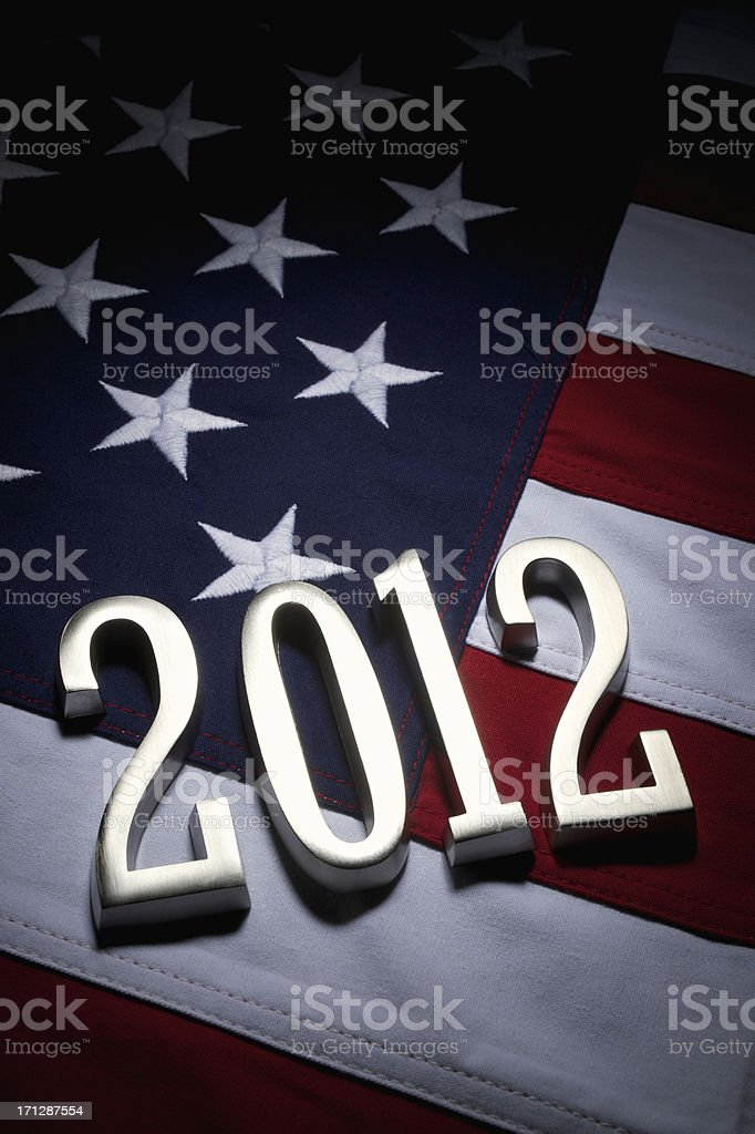 America Presidential Elections 2012 American Flag Silver Numbers royalty-free stock photo