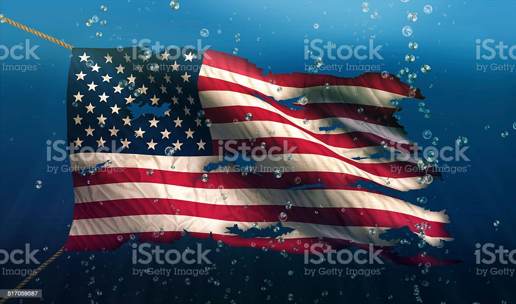 USA America Under Water Sea Flag National Torn Bubble 3D stock photo