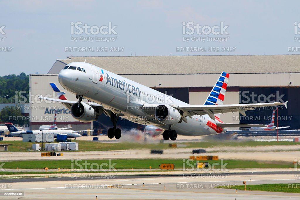 American Airlines A321 taking off at Charlotte Douglas International Airport stock photo