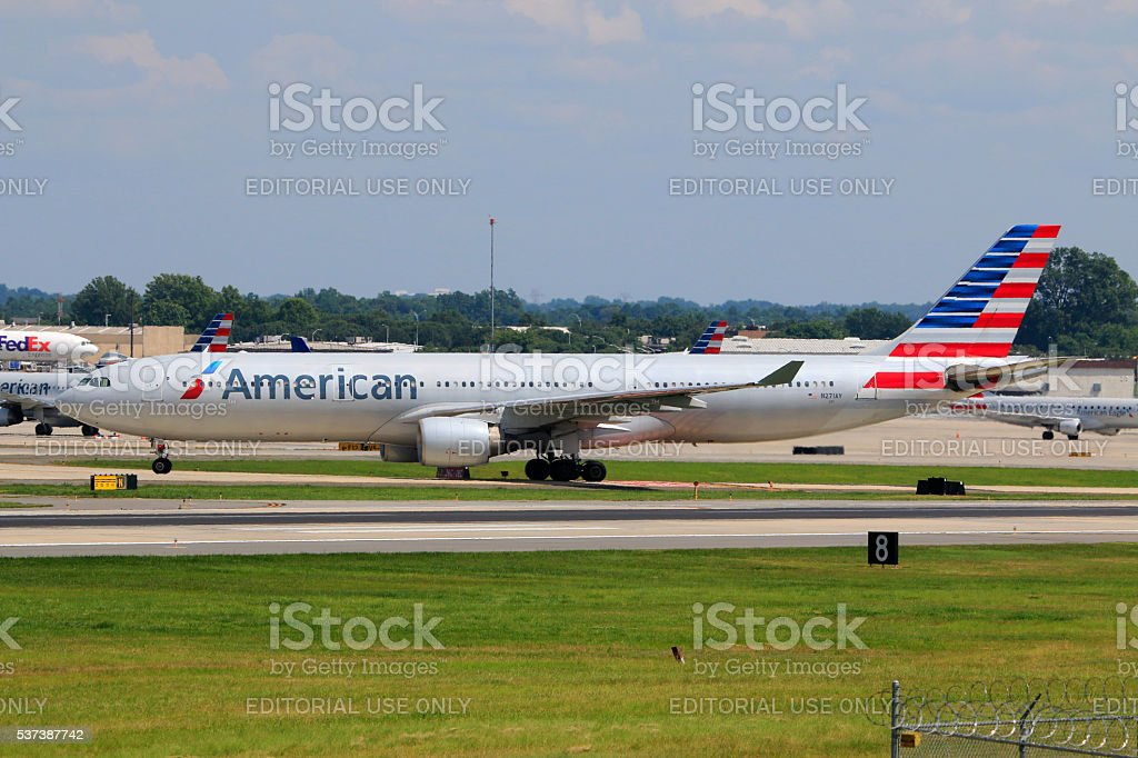 American Airlines A330-300 landed at Charlotte Douglas International Airport stock photo
