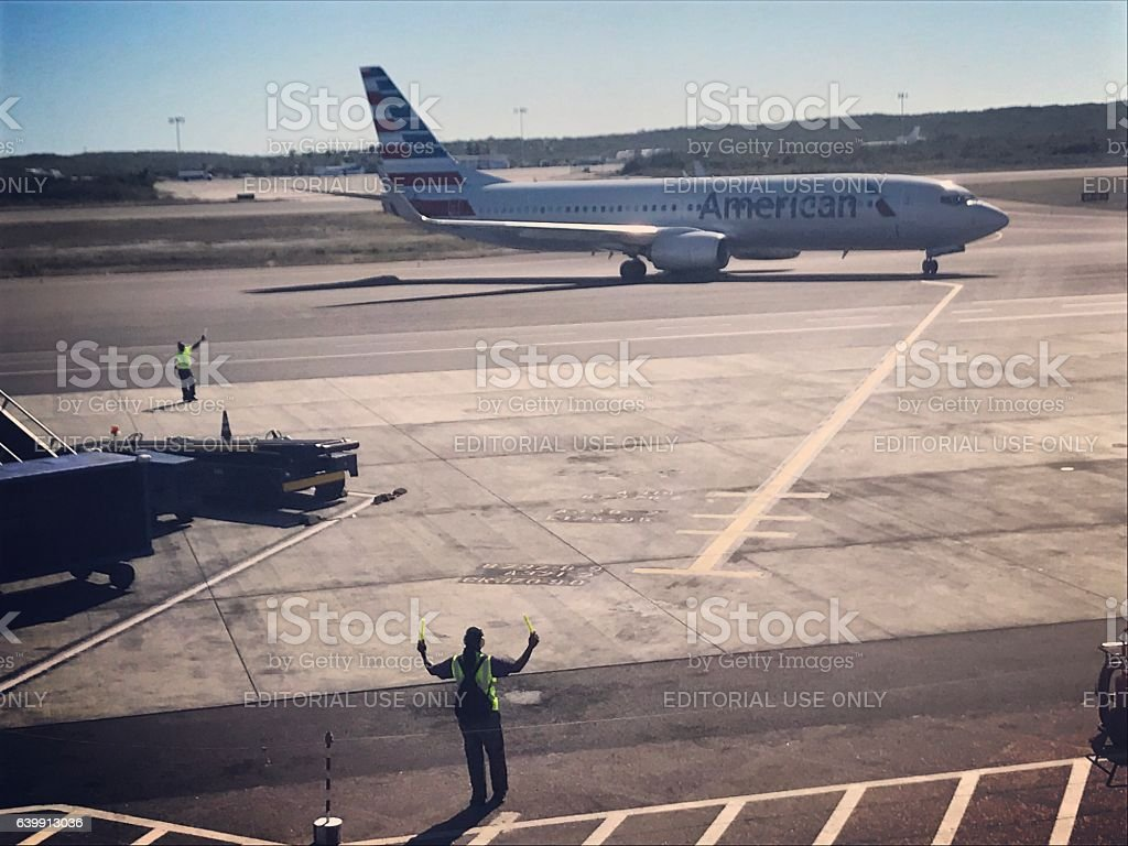 American Airlines Airplane arriving on Turks and Caicos Island stock photo