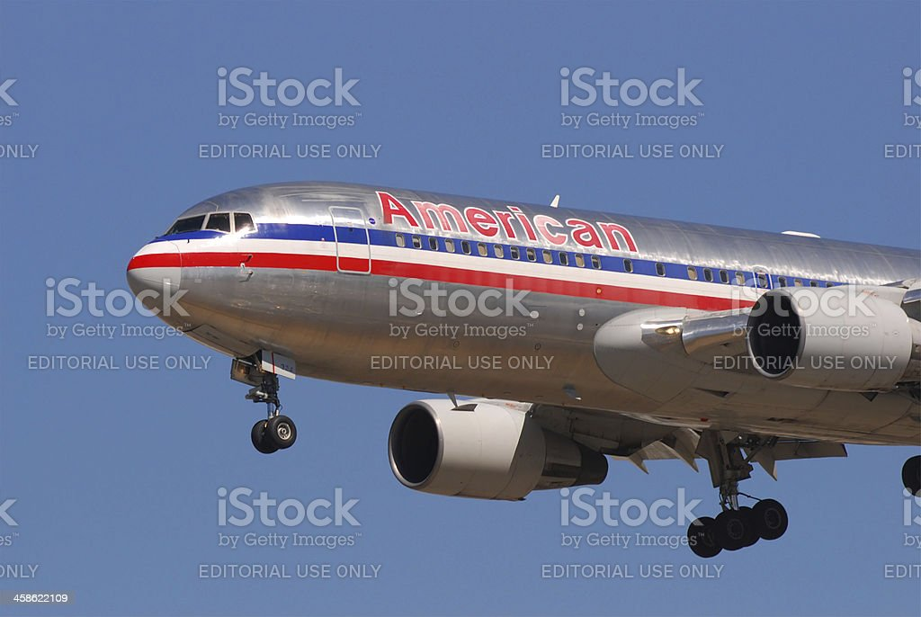 American Airlines airplane landing stock photo