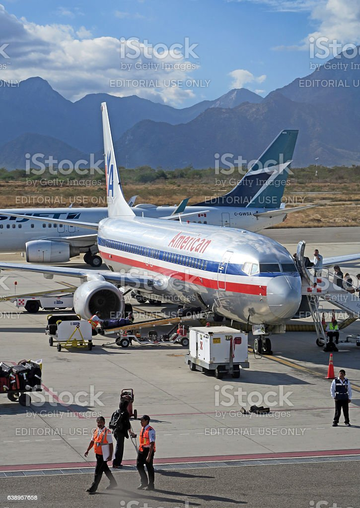 American Airlines at the gate ,  San Jose Del Cabo Airport stock photo