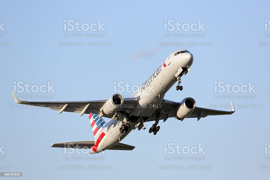 American Airlines Boeing 757-200 taking off stock photo