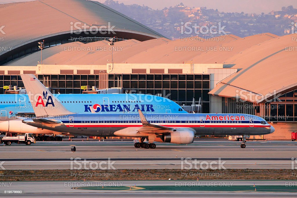 American Airlines Boeing 757-200 taxiing at LAX Airport stock photo