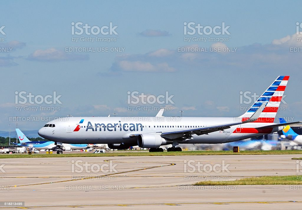 American Airlines Boeing 767. stock photo