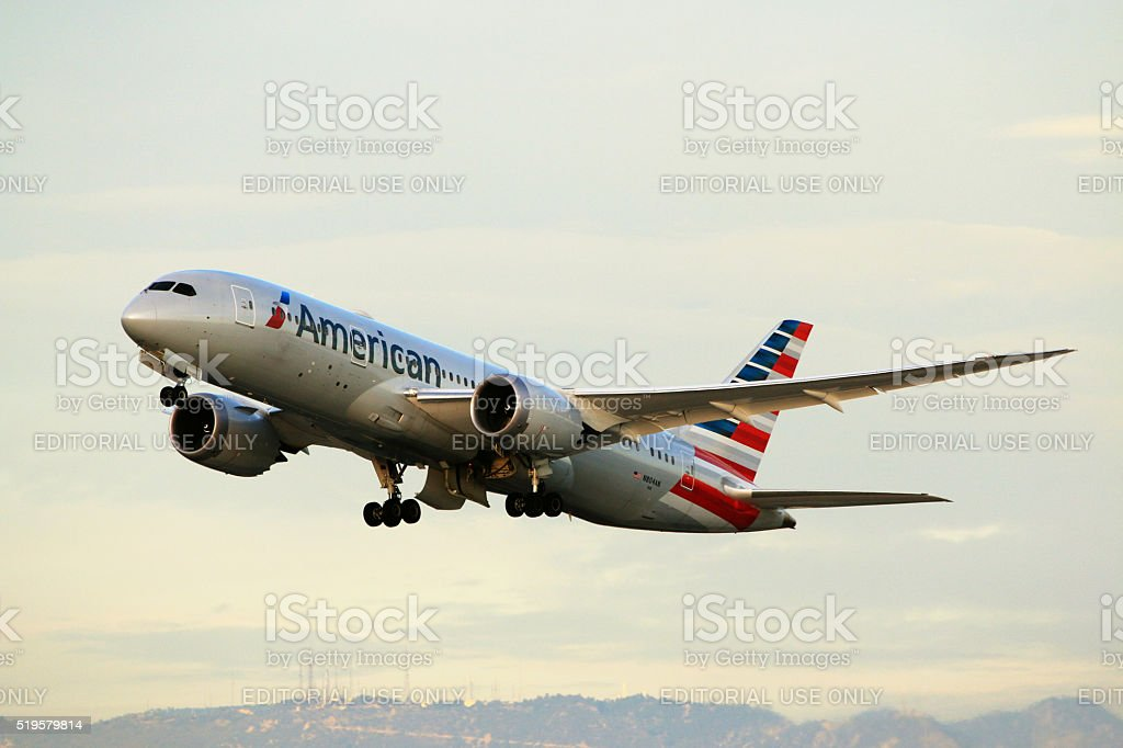 American Airlines Boeing 787-8 Dreamliner taking off at LAX Airport stock photo