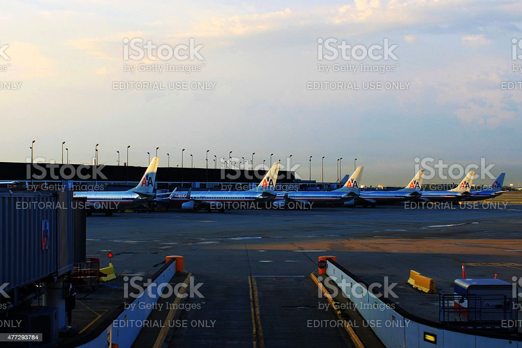 American Airlines Fleet at Chicago O'Hare Airport stock photo
