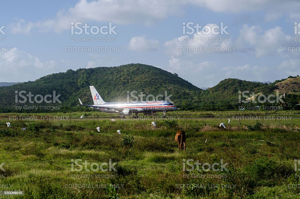 american airlines old livery on hewanorrah airport st lucia stock photo