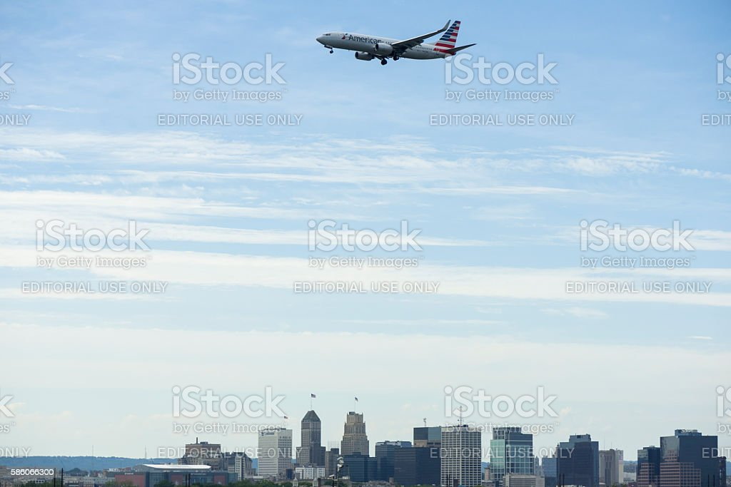 American Airlines plane descending into Newark airport stock photo