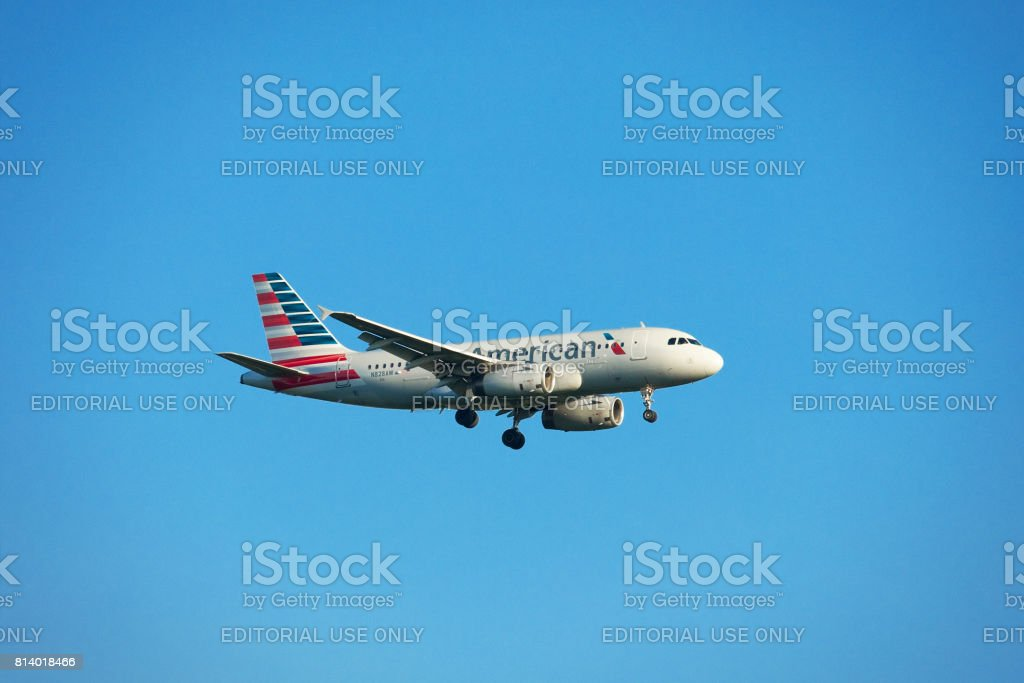 American Airlines Plane Ready To Land At Pittsburgh International Airport stock photo