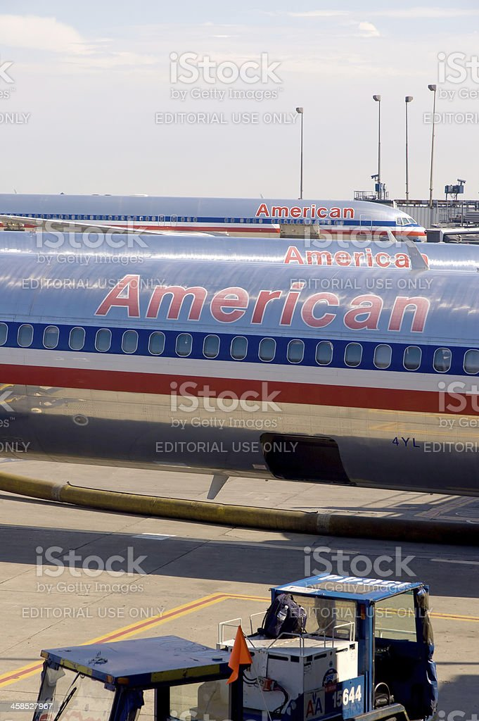 American Airlines Planes at San Francisco International Airport royalty-free stock photo