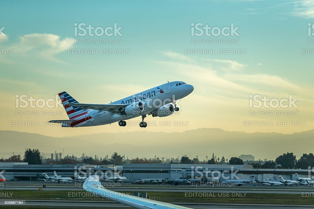 American Airlines take off stock photo