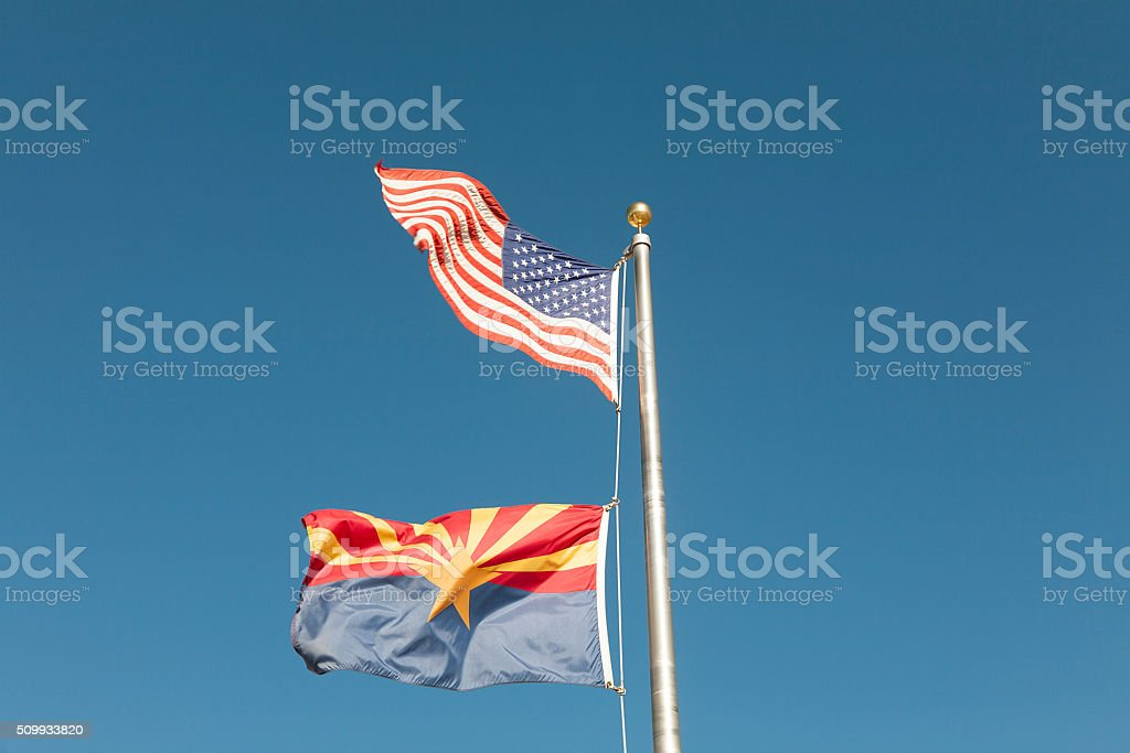 American and Arizona Flag stock photo