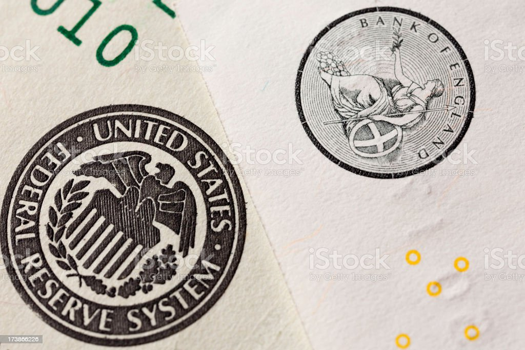 American and British banking institutes stock photo