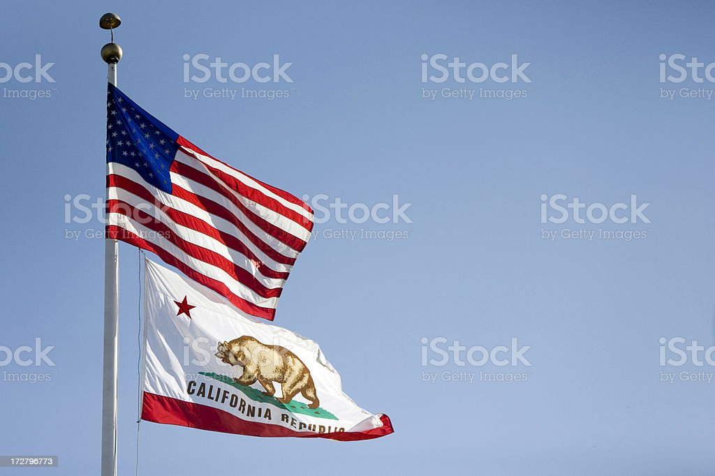 American and Californian Flags stock photo