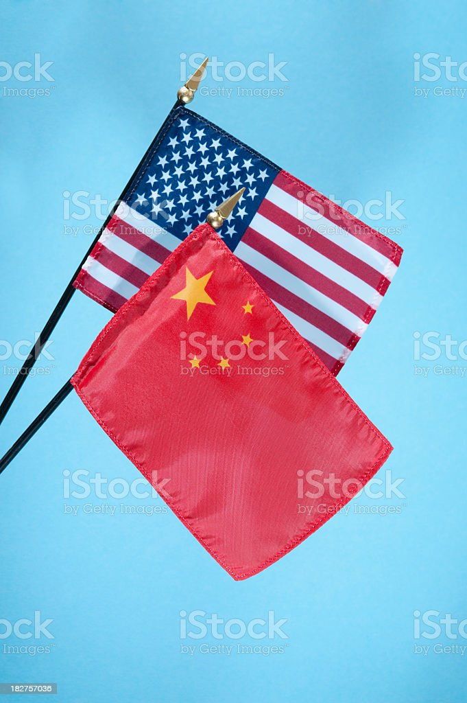 American and Chinese flags. stock photo