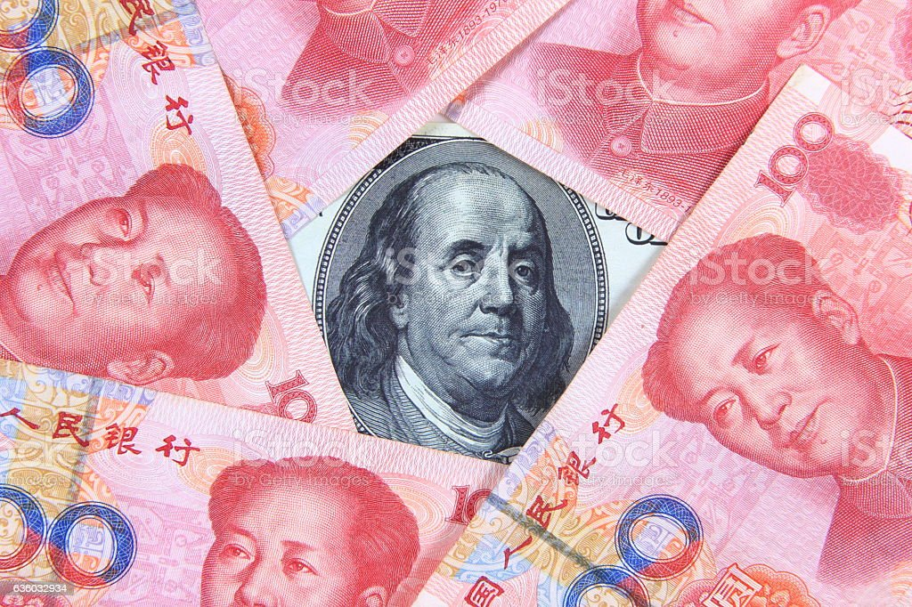 American and Chinese money stock photo