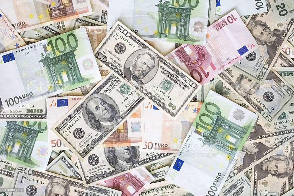 American and Euro paper money stock photo