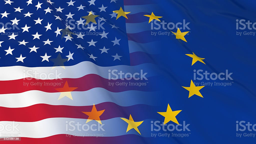 American and European Union Relations Concept - Merged Flags stock photo