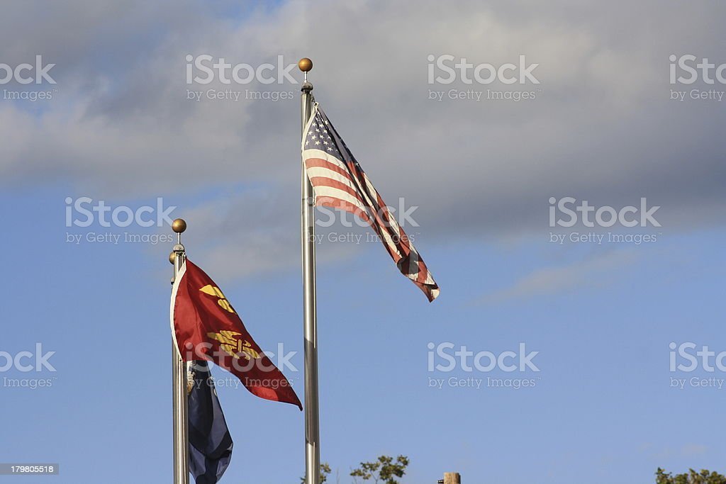 American and Fleur-de-lis flags royalty-free stock photo