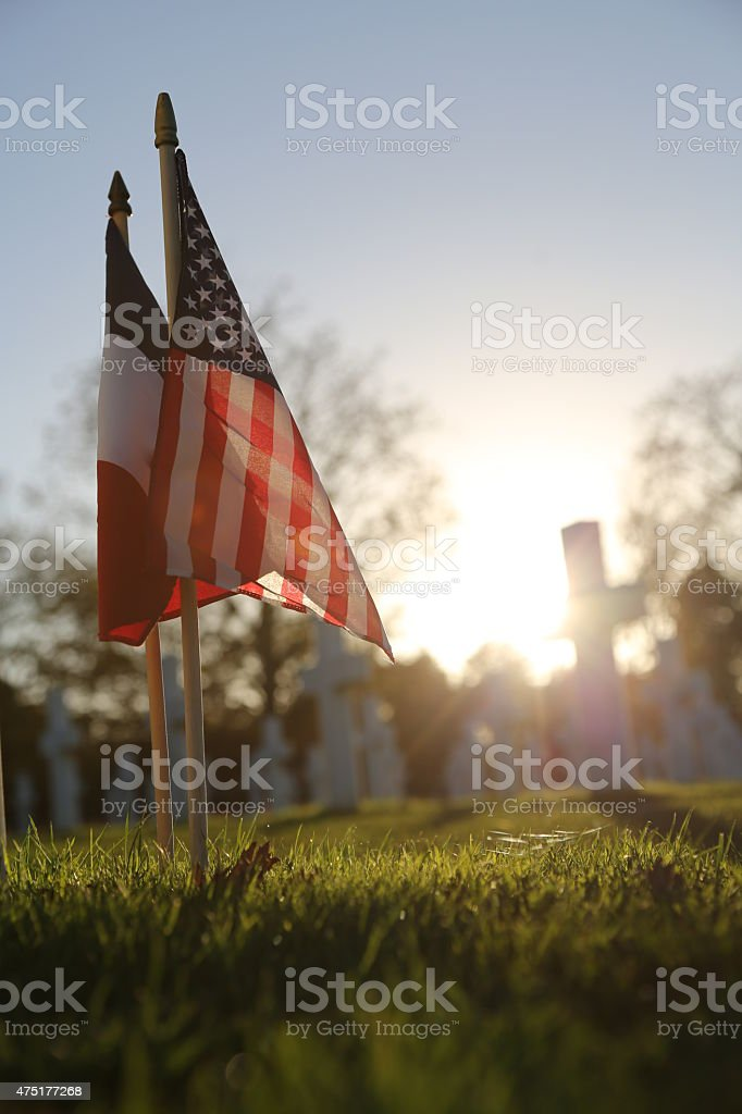 American and French Flags stock photo