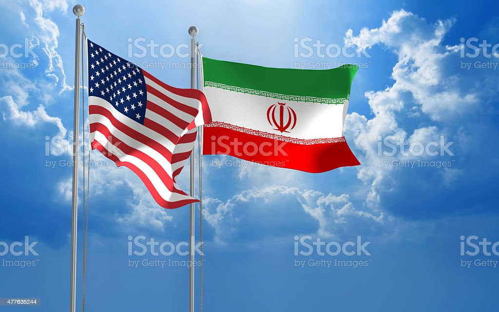 American and Iranian flags flying together for diplomatic talks stock photo