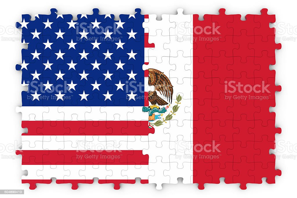 American and Mexican Relations Concept Image stock photo