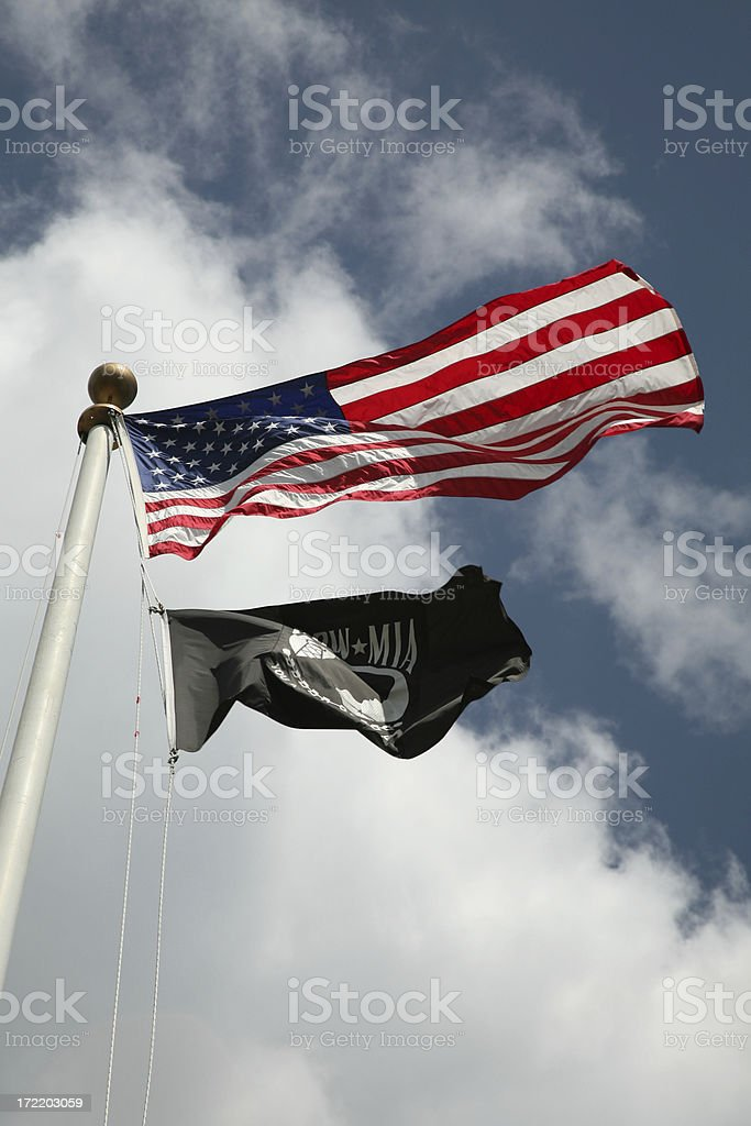 American and MIA/POW Flags stock photo