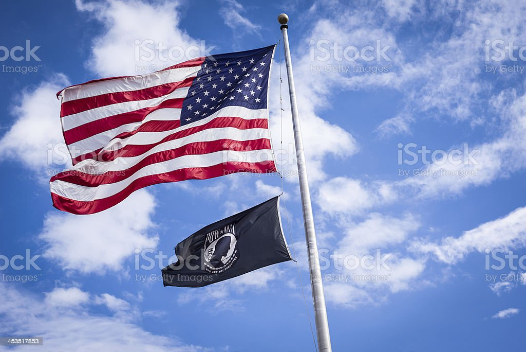 American and POW Flags stock photo