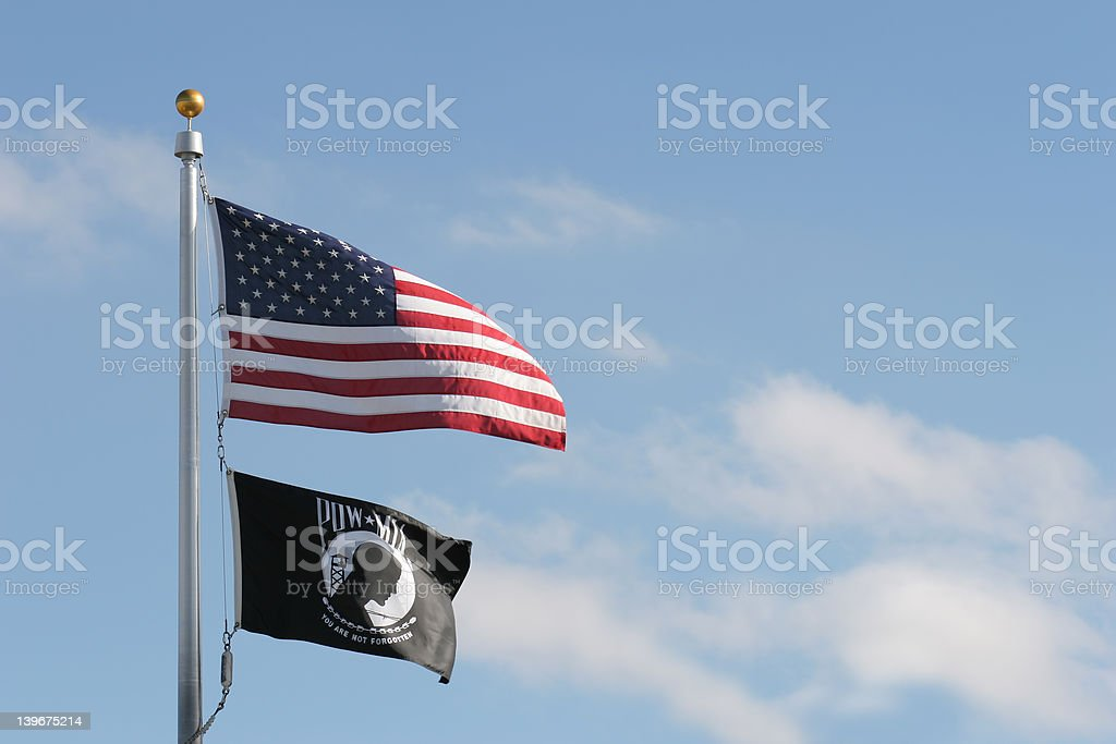 american and pow mia flags stock photo
