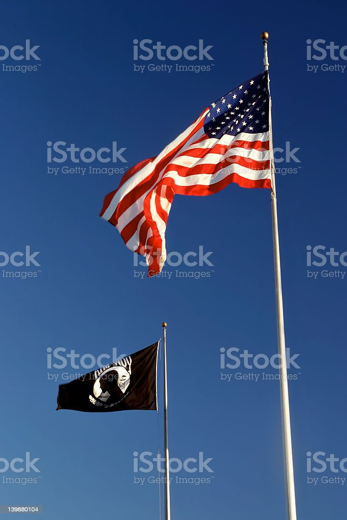 American and POW-MIA flags stock photo