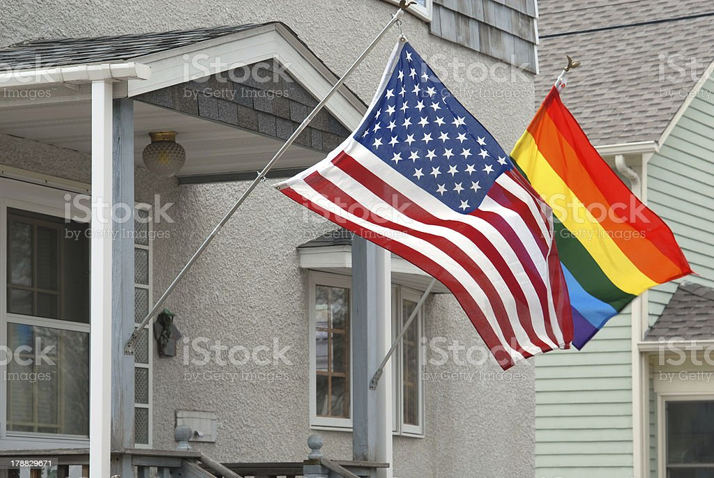 American and rainbow flag. royalty-free stock photo