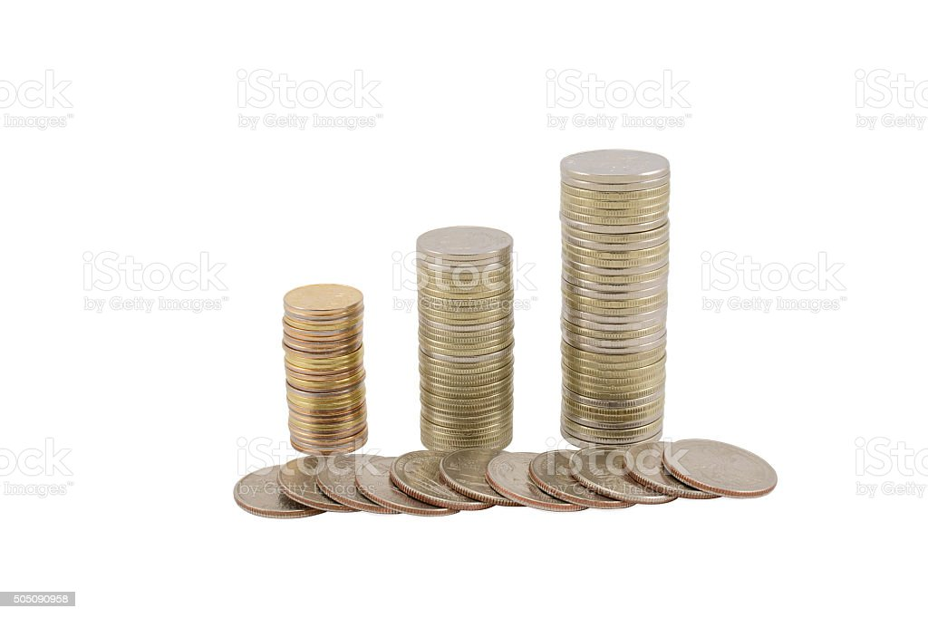 American and Russian coins stock photo