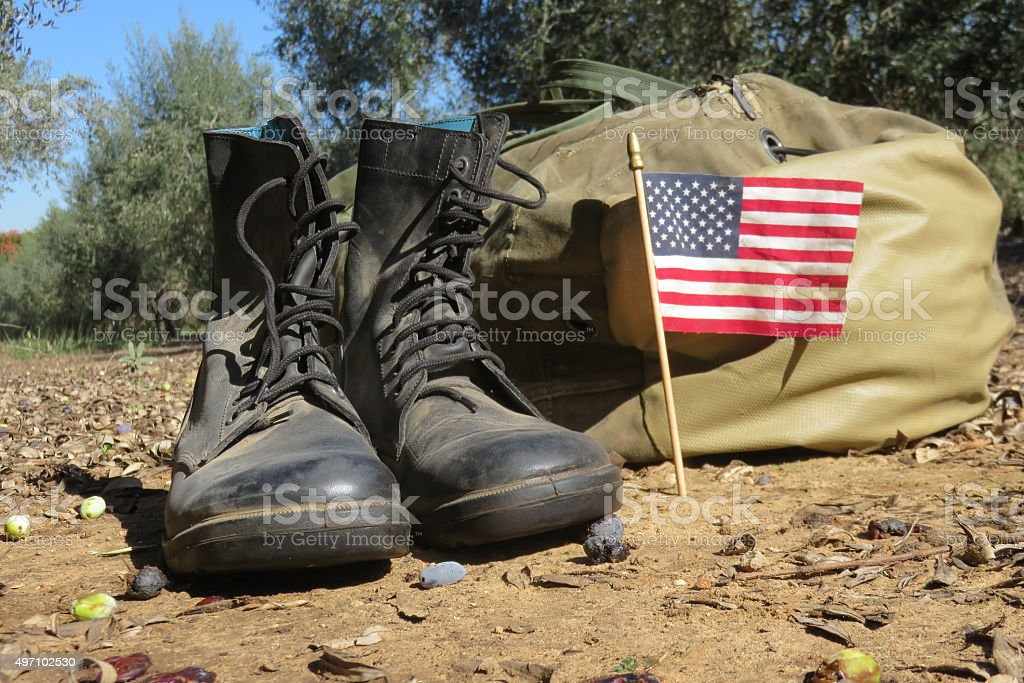 American army boots on the ground stock photo