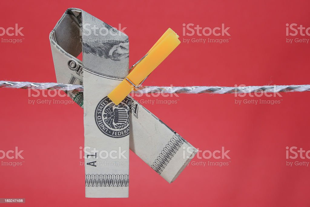 American Awareness Ribbon on clothline stock photo