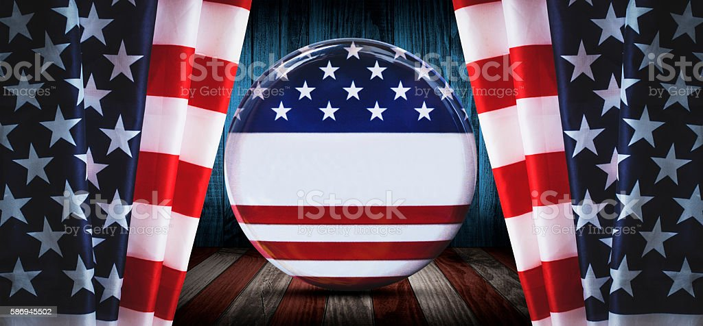 american badge button on a plank wood stock photo